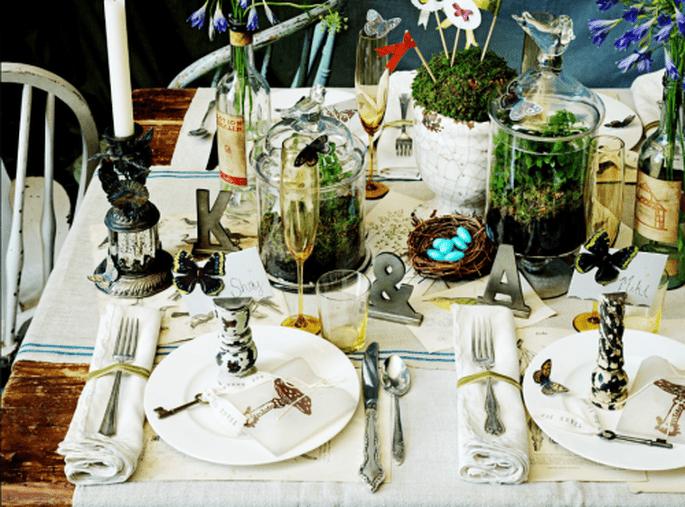 Decoraciòn de mesa de boda con terrarios. Fotografía Jeny Lynne