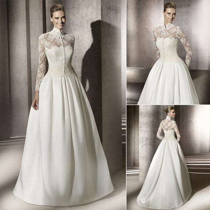 Vestido de novia con encaje abotonado, de Manuel Mota para Pronovias 2012