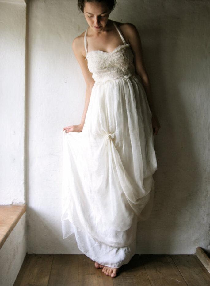 Abito da sposa color avorio in chiffon di seta
