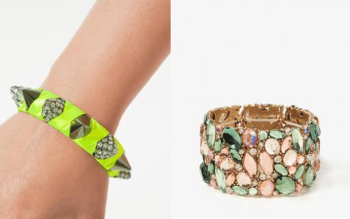 Accesorios para invitados de boda en colores brillantes, neón y con pedrería - Foto Zara y Forever 21