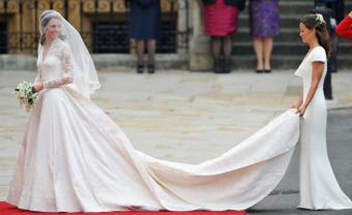 Kate Middleton entrando en la Abadia en día de su boda