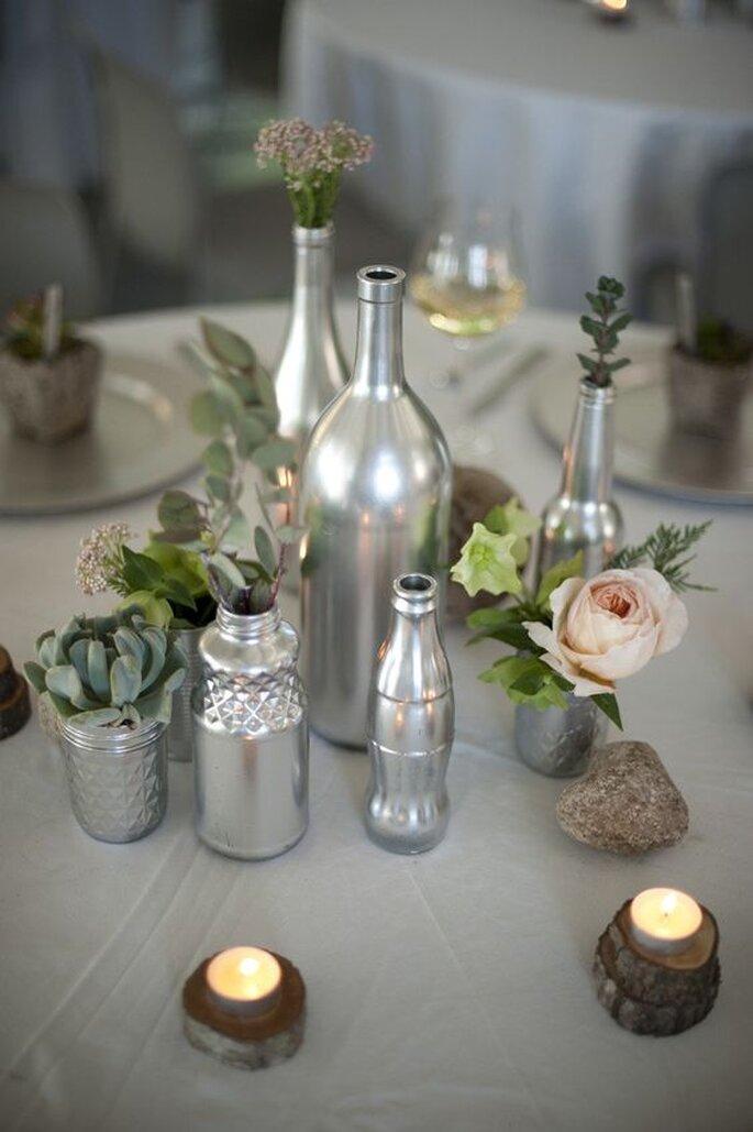 garrafas recicladas spray prateado casamento