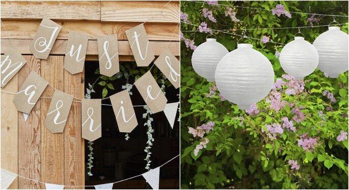 Decoración para bodas en jardines con guirnaldas