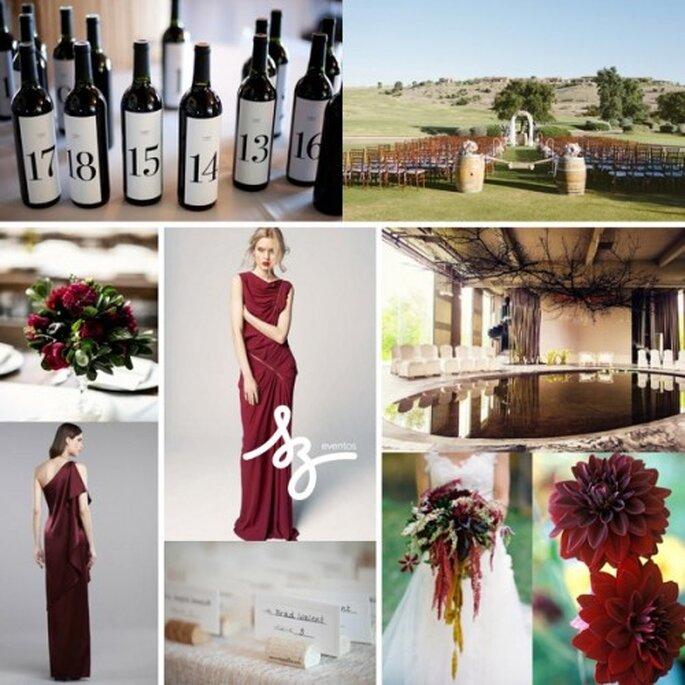 Collage para una boda con detalles color vino - Fotos stylemepretty.com, thelane.com, unitedwithlove.com. Diseño de Raisa Torres para SZ Eventos