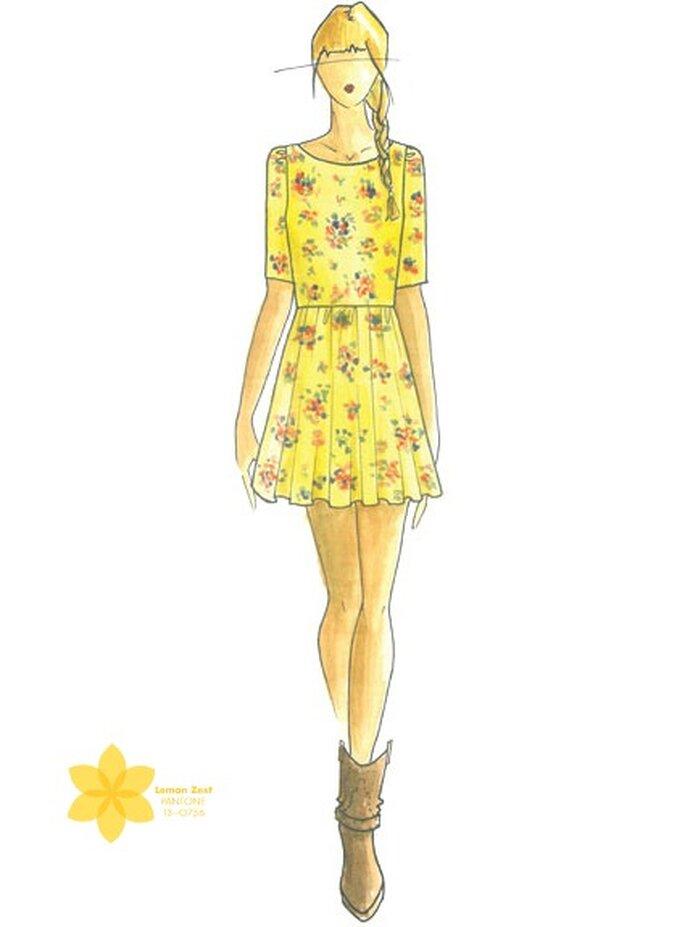 Couleur: jaune citron. Illustration: Ella Moss, pour Pamella Protzel-Scott. Photo: Pantone