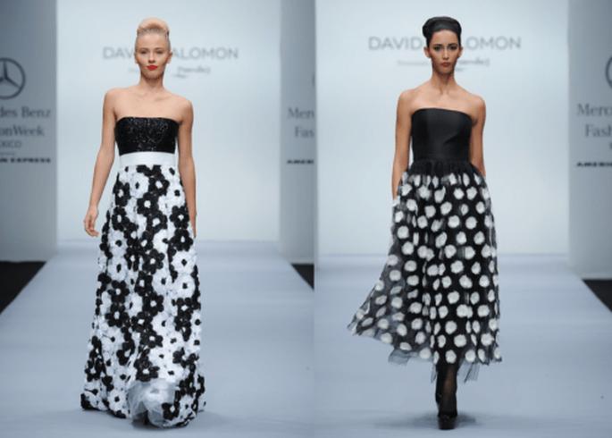 Vestidos de fiesta largos con estampados, crinolinas y texturas en forma de flores - Foto Mercedes Benz Fashion Week México