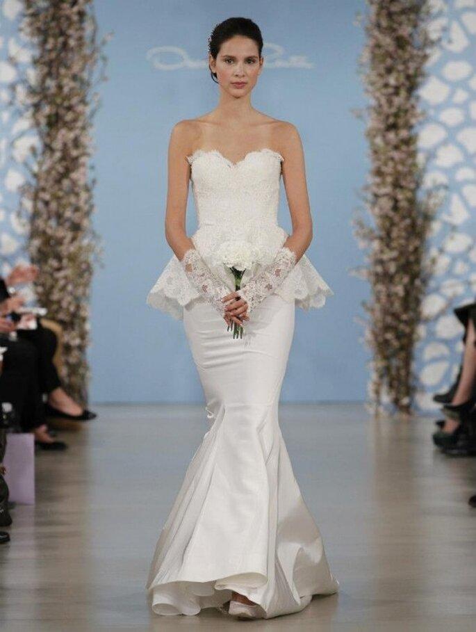 Vestido de novia 2014 con silueta peplum de encaje y escote corazón - Foto Oscar de la Renta