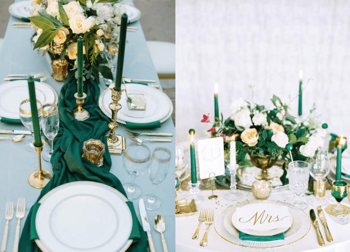 decoración con verde esmeralda: una boda como de la realeza