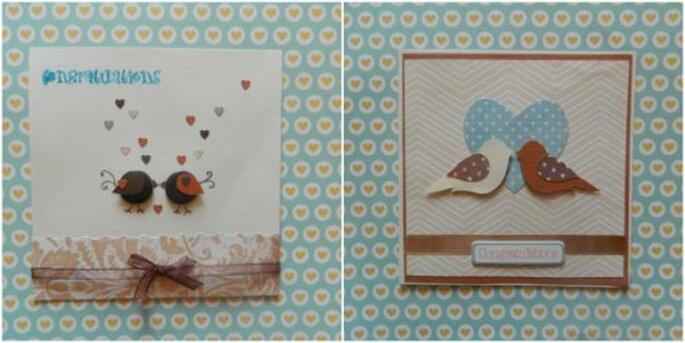 Własnoręcznie robione kartki ślubne z ptakami