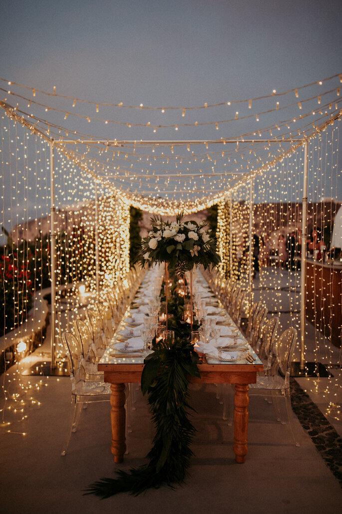 Lichtertunnel Hochzeit Outdoor