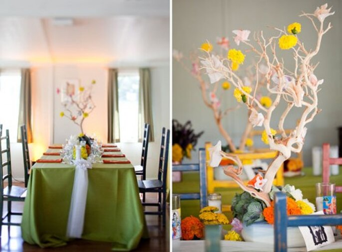Arbol de los deseos como centro de mesa de boda - Green Wedding Shoes