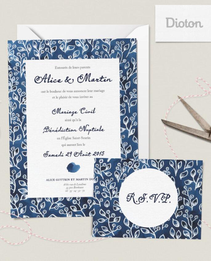Gamme de papeterie de mariage à l'aquarelle Indigo sur Dioton.fr