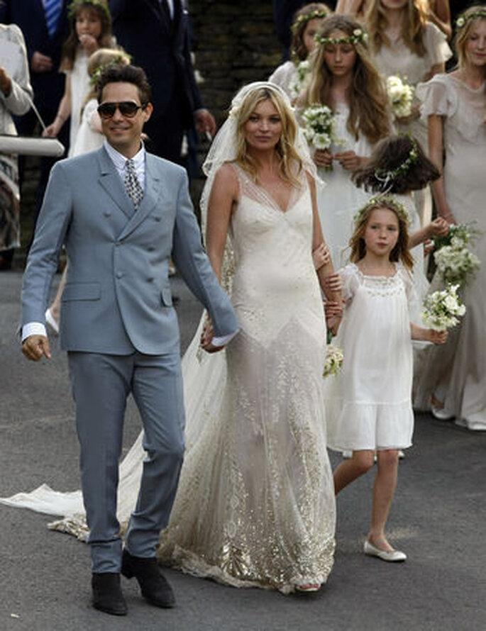La modelo llevaba un vestido de novia de John Galiano