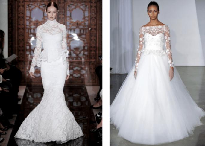 Vestidos de novia con mangas largas 2014 - Foto Reem Acra y Marchesa