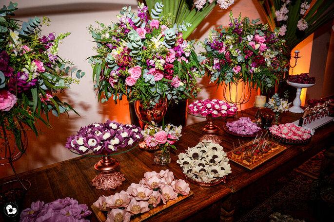 mesa de doces de casamento decorada