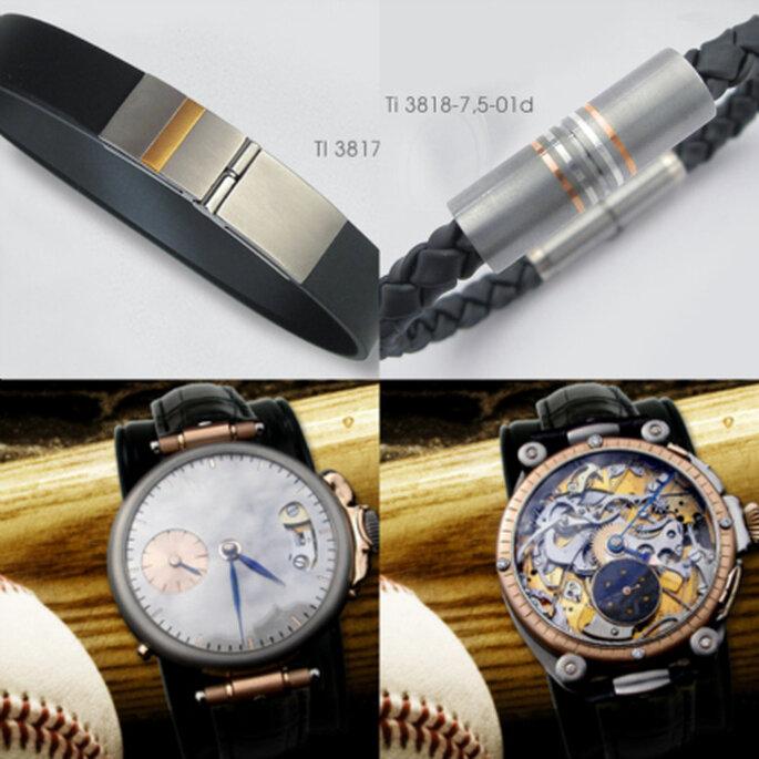 oben: Individuelle Armbänder aus Titan, unten: Armbanduhren mit Elementen aus Titan und Brillanten