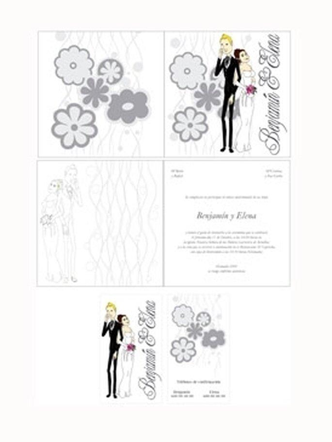 Invitaciones de boda 2010 - Estilo naif de Arte papel