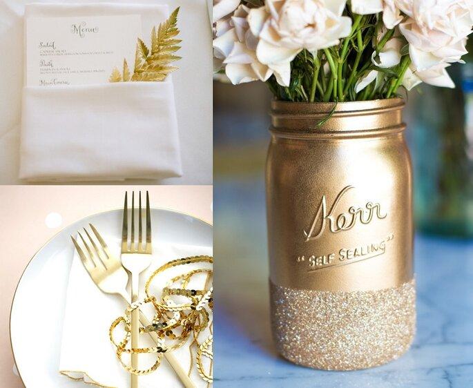 decoración oro glitter
