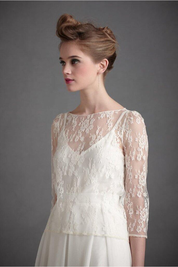 Elige un vestido de novia con mangas tres cuartos y silueta holgada - Foto BHLDN