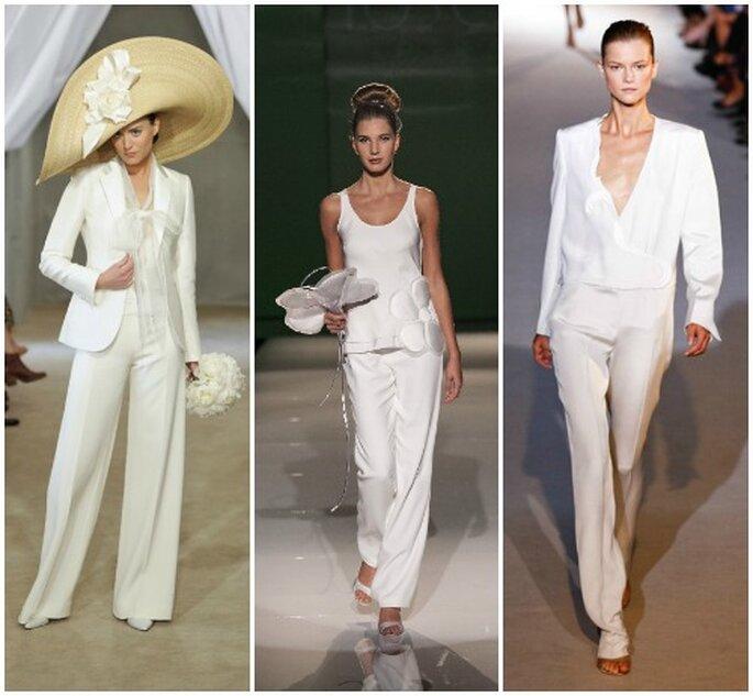 """Tre proposte per la sposa """"in pantaloni"""". Da sinistra: Carolina Herrera, Tosca Spose e Stella Mc Cartney."""