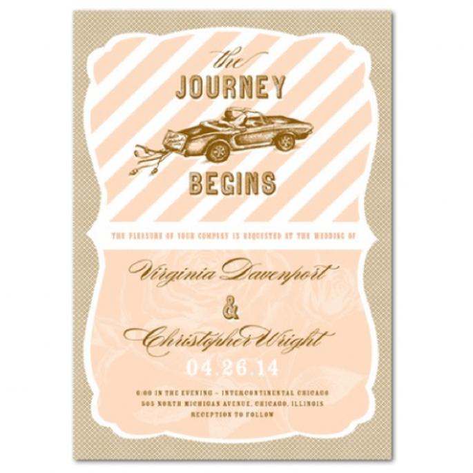 Invitación de boda vintage en colores nude, durazno y rosa pastel - Foto Wedding Paper Divas