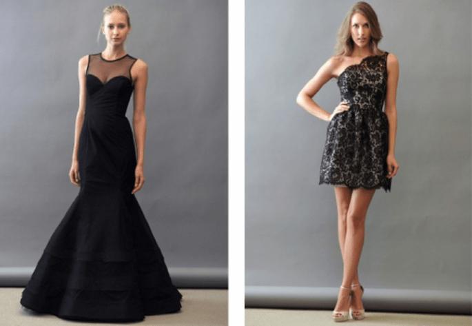 Vestidos para damas de boda en color negro corte sirena y escote en un solo hombro - Foto Lazaro