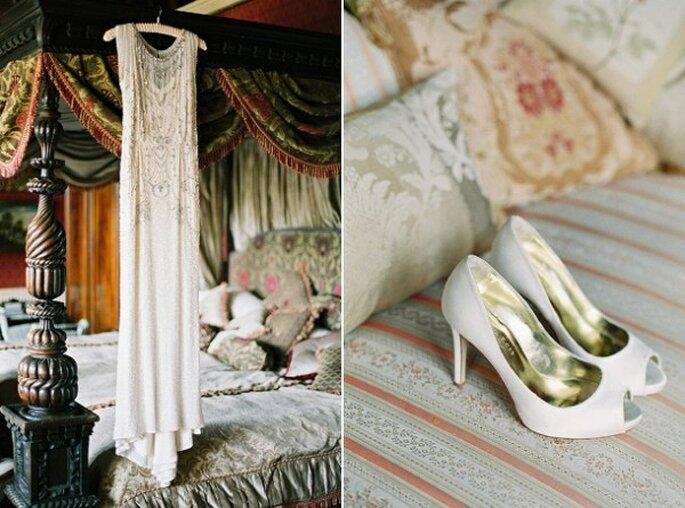 Boda retro en colores esmeralda y dorado - Foto de CKB Photography