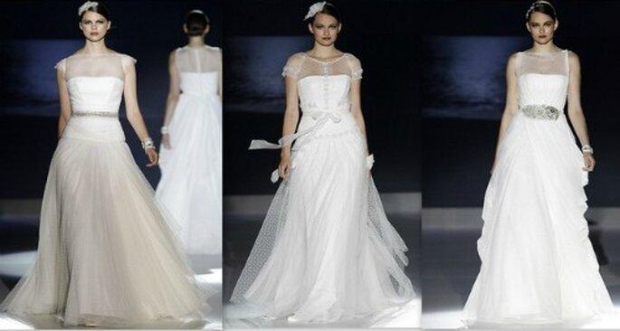 Le décolleté recouvert de tulle est une marque de fabrique de la collection Jesus Peiró 2013 Photo Barcelona Bridal Week