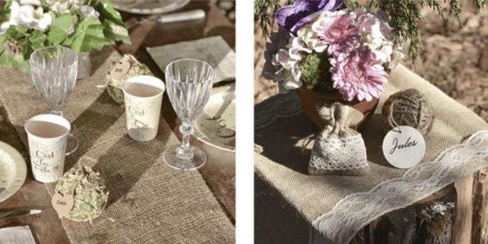 Rouleau de table en jute et Chemin de table en jute et dentelle