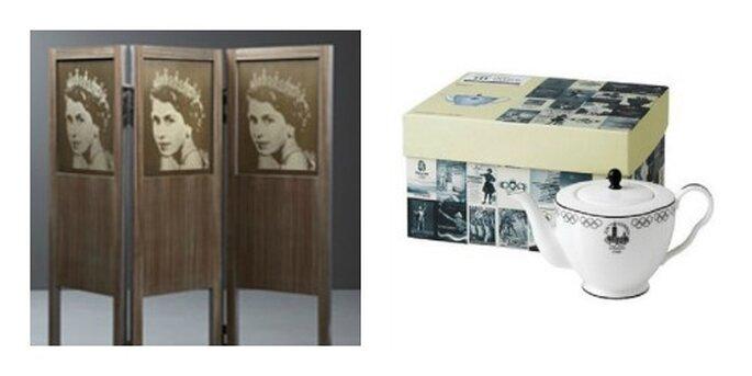 Tea Pot del negozio ufficiale on line dei giochi olimpici e paravento dedicato da Promemoria alla Regina Elisabetta II. Foto: shop.london2012.com e promemoria.com