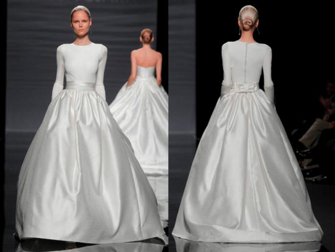 Vestido de novia con mangas cortas y falda amplia - Foto Rosa Clará
