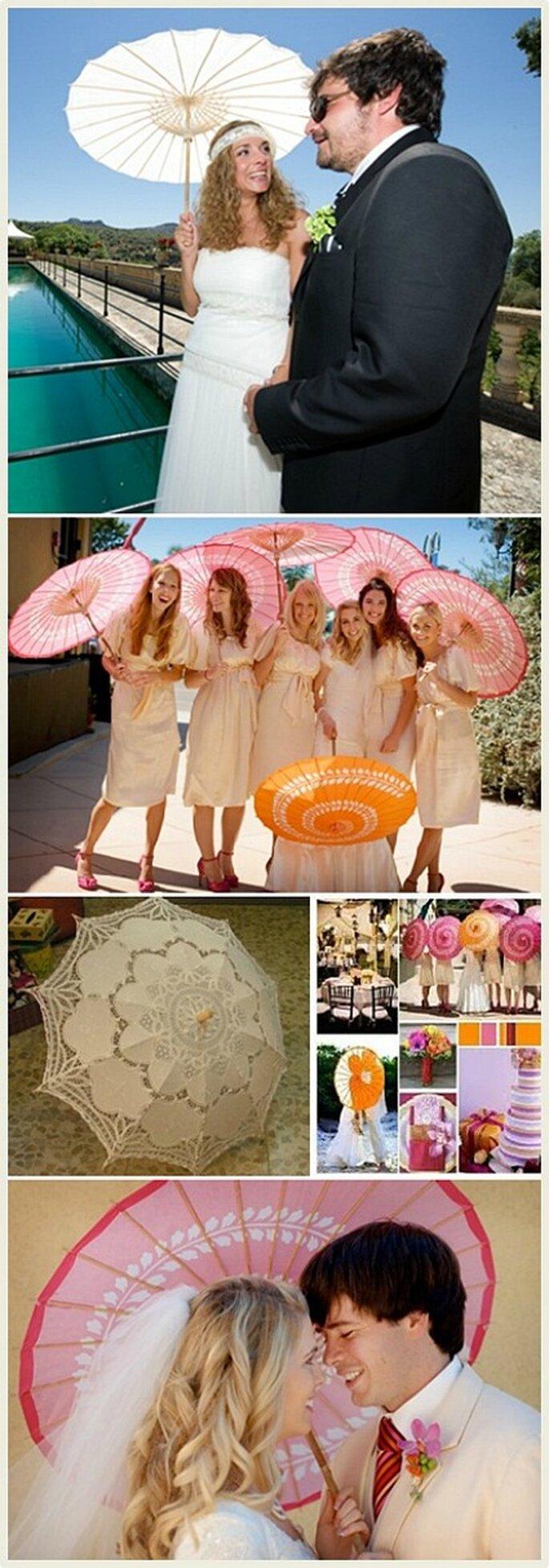 Entregar sombrillas de papel a los invitados si la ceremonia es al aire libre y a pleno sol, este detalle le dará un toque de elegancia a la celebración.