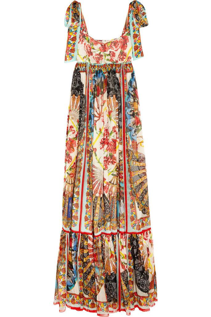 Vestidos de fiesta con estampados coloridos inspirados en los años 70 - Dolce & Gabbana en Net a Porter