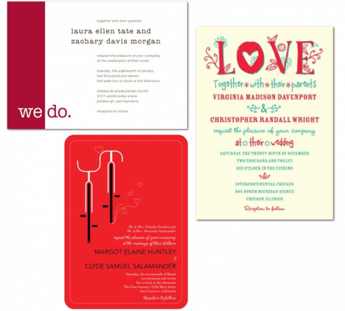 Invitaciones de boda en color rojo con ilustraciones y diseños divertidos - Foto Wedding Paper Divas