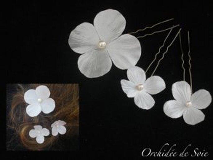 Pic à fleurs en soie - Orchidée de soie