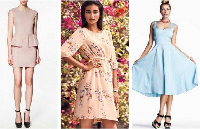 I colori pastello sono tornati alla grande...perfetti per un ricevimento in primavera! Da destra abito Zara, H&M, H&M
