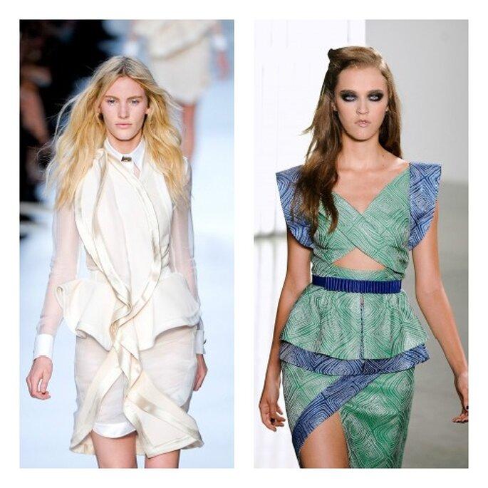A sinistra, modello Givenchy con volant morbidi ad avvolgere tutto l'abito in verticale; a destra, completo Rodarte: qui la baschina si tramuta in una piccola gonna. Foto: Elle