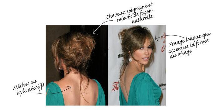 Jennifer Lopez avec les cheveux relevés au style naturel