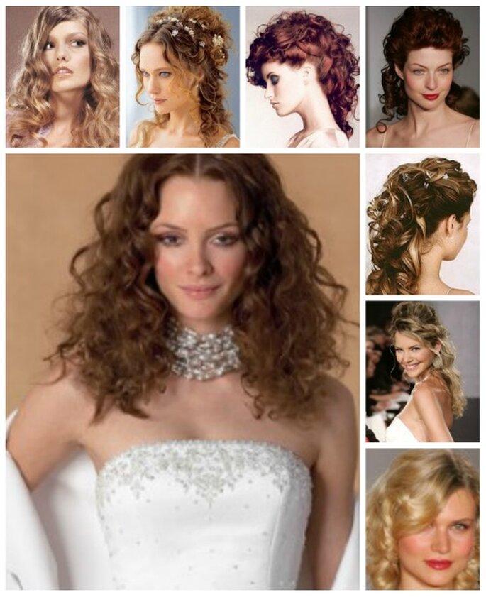 Peinados para cabello rizado de novia