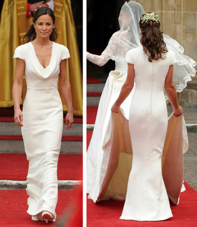 PippaMiddleton. Vestido blanco diseñado por Sarah Burton