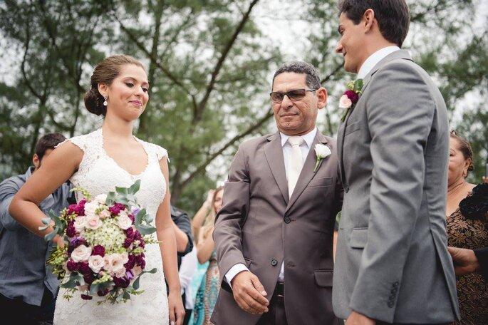 Noiva, pai e noivo
