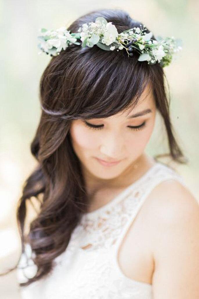 Peinados de novia con flequillo
