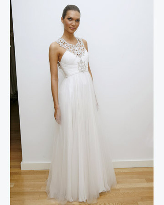 Jenny Packham dress with tulle skirt and jewelled halterneck straps and bodice embellishment