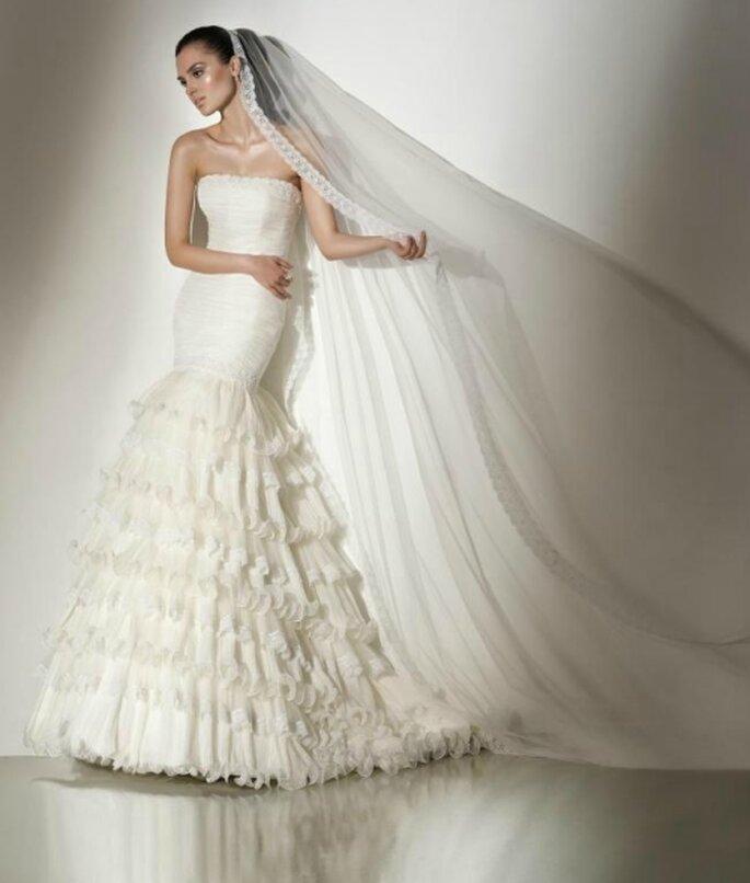 Vestido de novia corte sirena, strapless. Pepe Botella