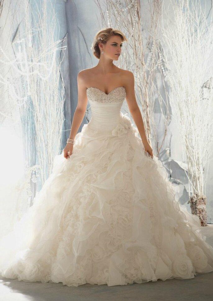 Per la sposa che desidera un abito principesco, sì alla gonna vaporosa. Mori Lee 2014 Bridal Collection. Foto: www.morilee.com