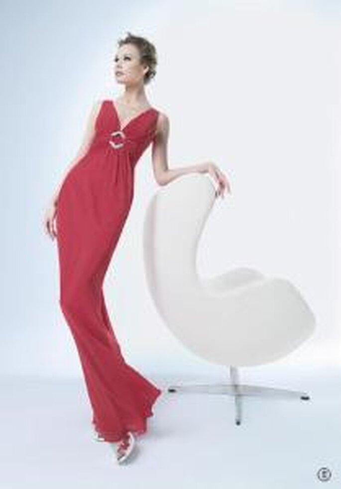 Vestido de cóctel - rojo-largo-museline