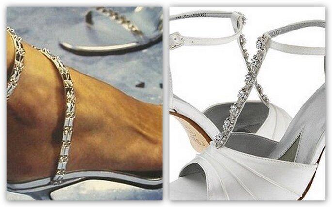 Sandali da sposa con diamantini, completamente aperti o semi chiusi