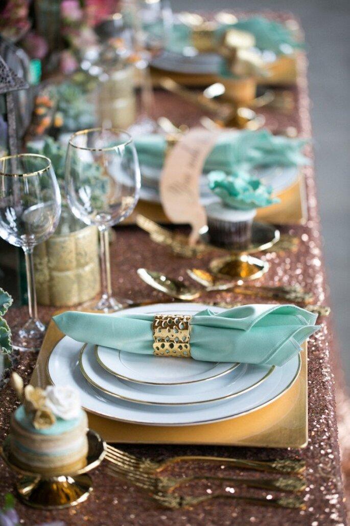 Decoración de boda en color dorado - Foto J'Adore Love