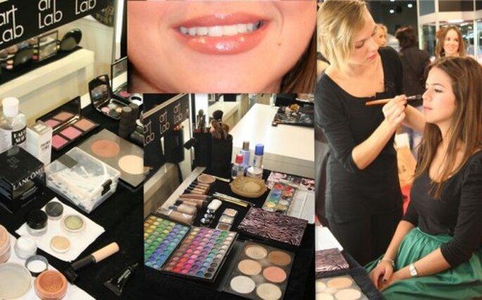 El equipo de Art Lab maquilla los labios de una futura novia