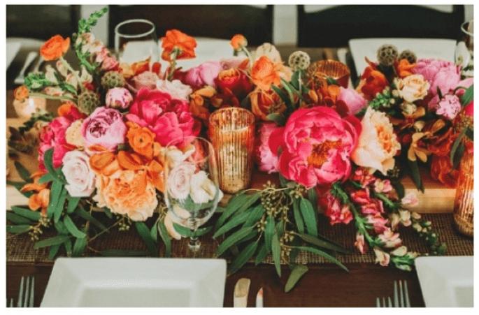 Los centros de mesa con flores más elegantes para una boda en 2014 - Foto Two Pair Photography